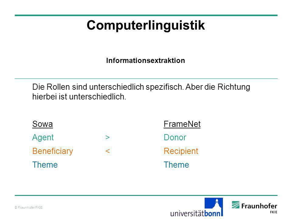 © Fraunhofer FKIE Computerlinguistik Die Rollen sind unterschiedlich spezifisch. Aber die Richtung hierbei ist unterschiedlich. SowaFrameNet Agent >Do