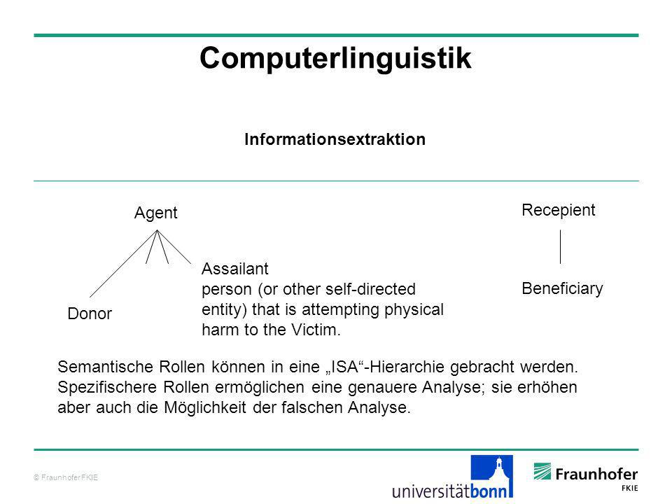 © Fraunhofer FKIE Computerlinguistik Informationsextraktion Agent Donor Assailant person (or other self-directed entity) that is attempting physical h