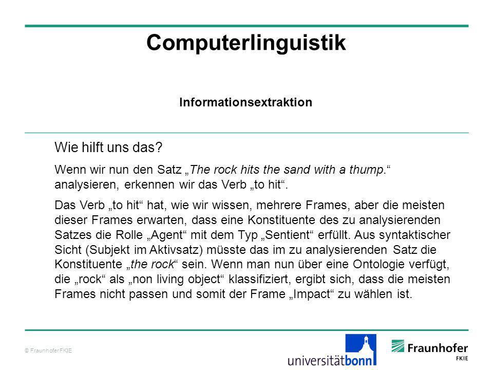 © Fraunhofer FKIE Computerlinguistik Wie hilft uns das? Wenn wir nun den Satz The rock hits the sand with a thump. analysieren, erkennen wir das Verb