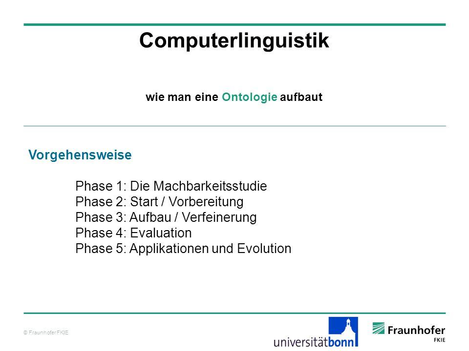 © Fraunhofer FKIE Computerlinguistik Vorgehensweise Phase 1: Die Machbarkeitsstudie Phase 2: Start / Vorbereitung Phase 3: Aufbau / Verfeinerung Phase