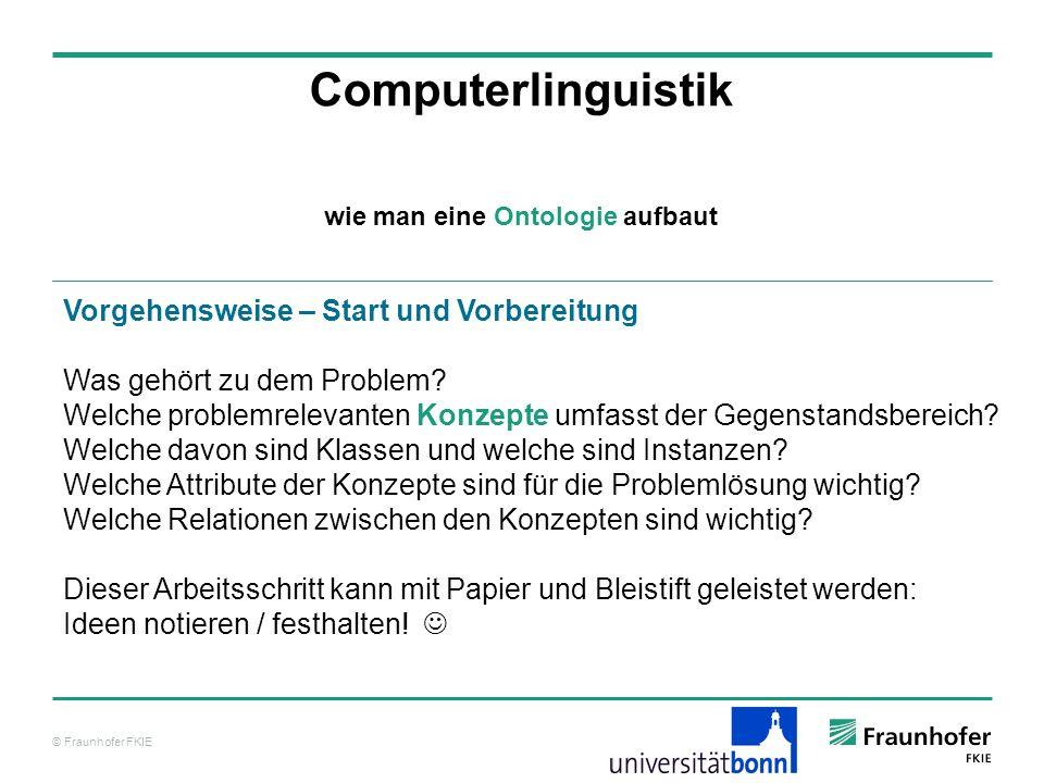 © Fraunhofer FKIE Computerlinguistik Vorgehensweise – Start und Vorbereitung Was gehört zu dem Problem? Welche problemrelevanten Konzepte umfasst der