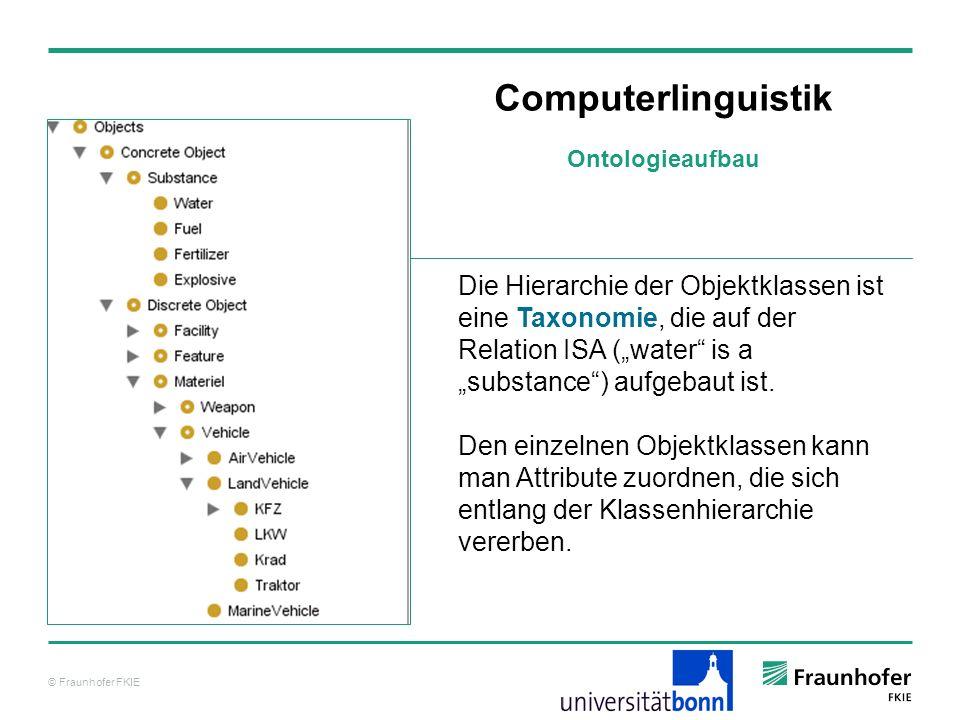 © Fraunhofer FKIE Computerlinguistik Die Hierarchie der Objektklassen ist eine Taxonomie, die auf der Relation ISA (water is a substance) aufgebaut is