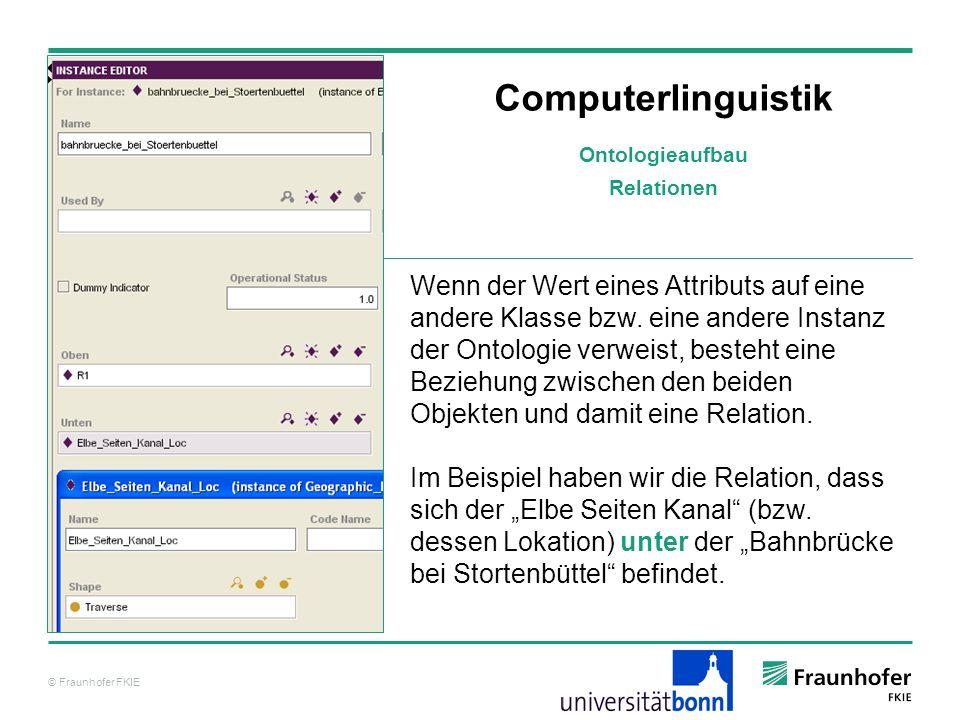 © Fraunhofer FKIE Computerlinguistik Wenn der Wert eines Attributs auf eine andere Klasse bzw. eine andere Instanz der Ontologie verweist, besteht ein
