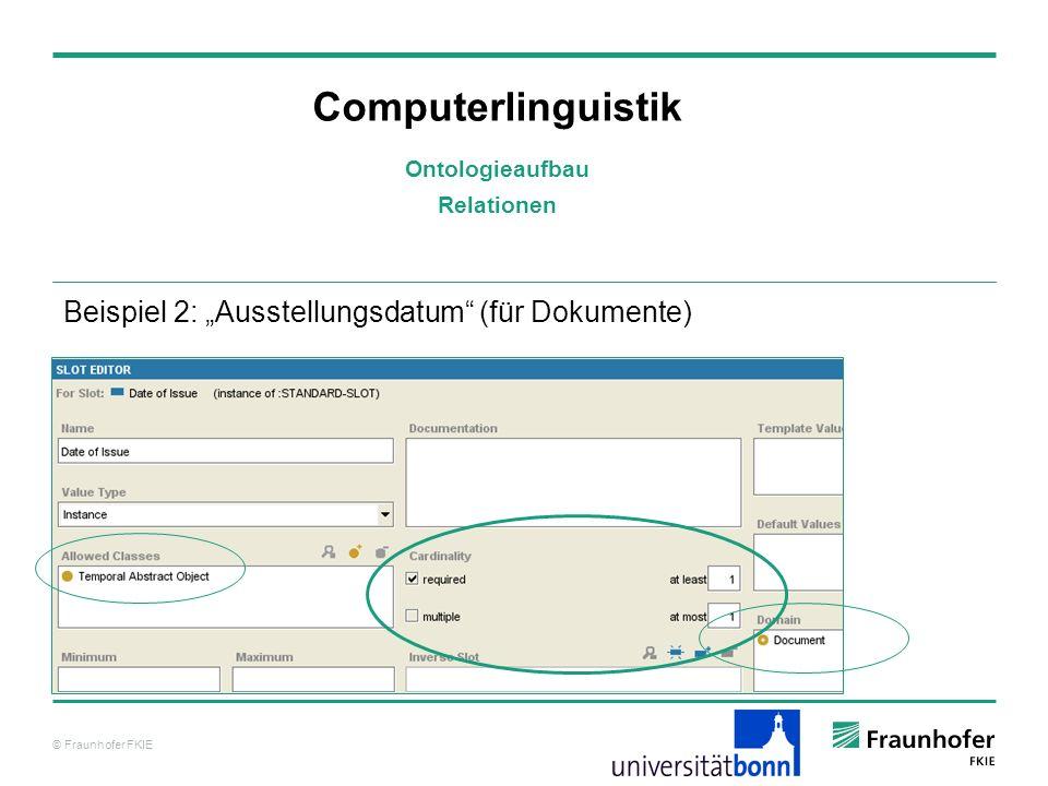 © Fraunhofer FKIE Computerlinguistik Beispiel 2: Ausstellungsdatum (für Dokumente) Ontologieaufbau Relationen