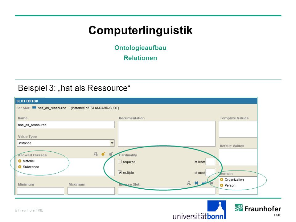 © Fraunhofer FKIE Computerlinguistik Beispiel 3: hat als Ressource Ontologieaufbau Relationen