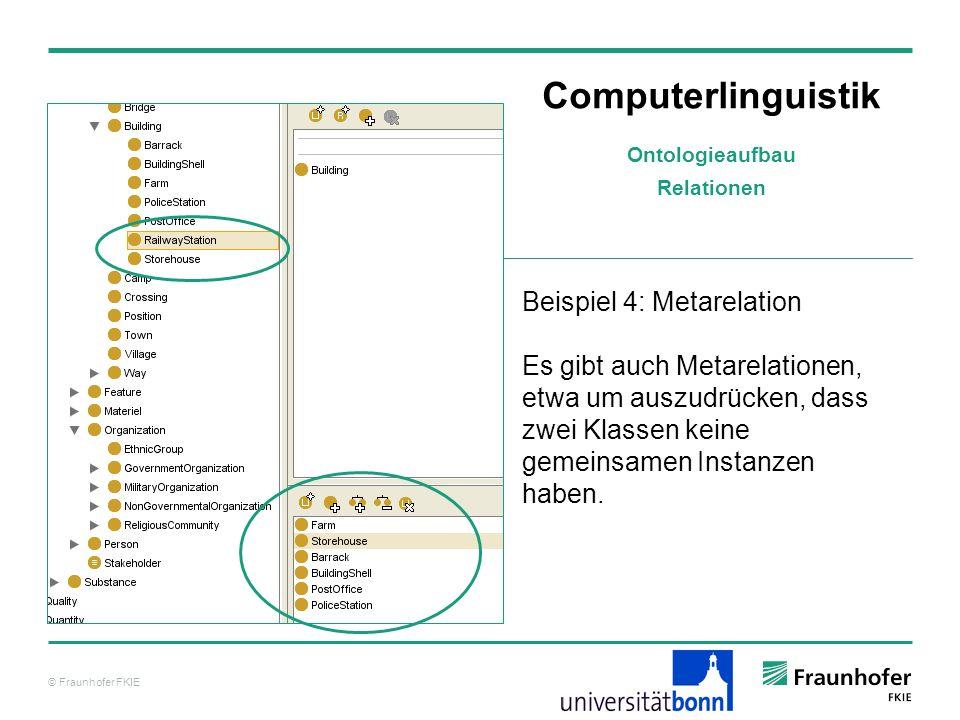 © Fraunhofer FKIE Computerlinguistik Beispiel 4: Metarelation Es gibt auch Metarelationen, etwa um auszudrücken, dass zwei Klassen keine gemeinsamen I