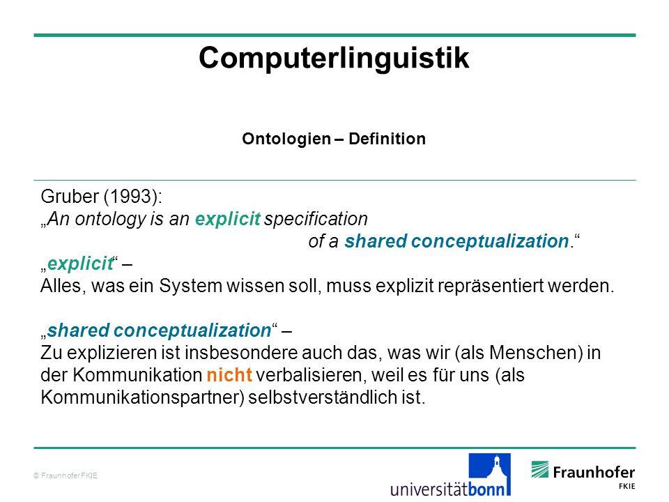 © Fraunhofer FKIE Computerlinguistik Mit der Hilfe von Ontologien soll Wissen – auch implizites Wissen, über das Menschen verfügen – für Systeme nutzbar gemacht werden.