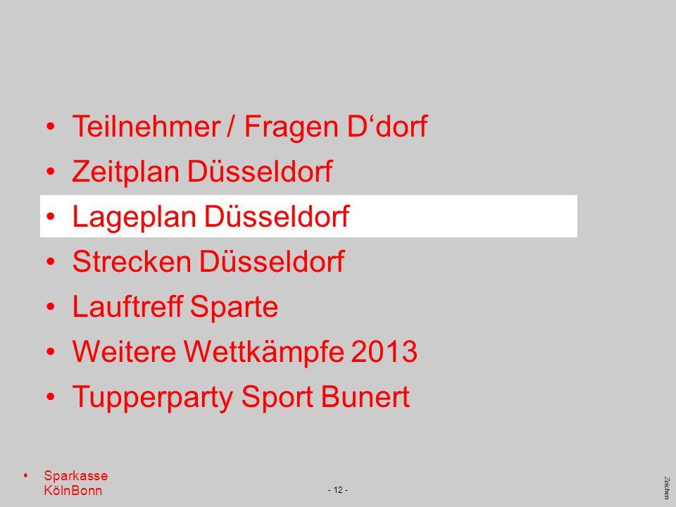 s Sparkasse KölnBonn Zeichen - 12 - Teilnehmer / Fragen Ddorf Zeitplan Düsseldorf Lageplan Düsseldorf Strecken Düsseldorf Lauftreff Sparte Weitere Wet