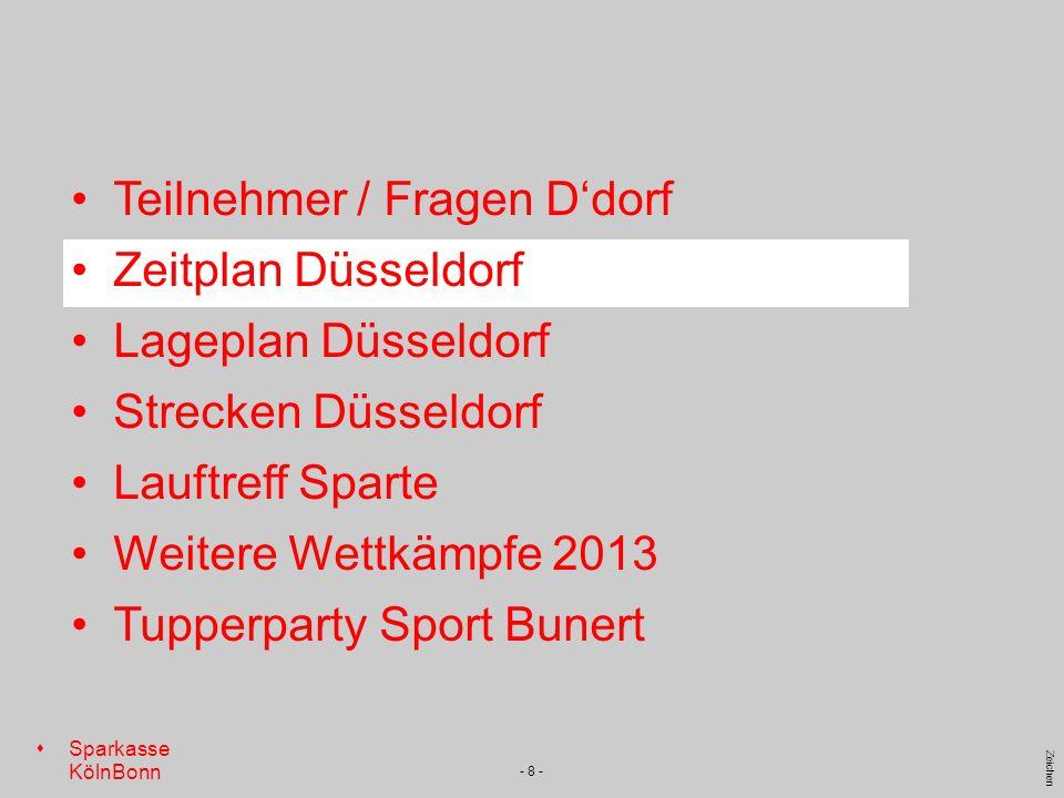 s Sparkasse KölnBonn Zeichen - 8 - Teilnehmer / Fragen Ddorf Zeitplan Düsseldorf Lageplan Düsseldorf Strecken Düsseldorf Lauftreff Sparte Weitere Wett