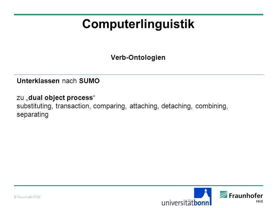 © Fraunhofer FKIE Computerlinguistik Unterklassen nach SUMO zu dual object process substituting, transaction, comparing, attaching, detaching, combini