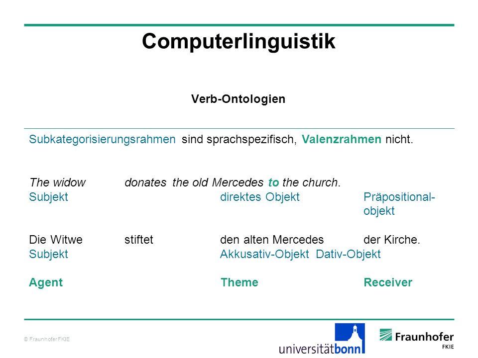 © Fraunhofer FKIE Computerlinguistik Subkategorisierungsrahmen sind sprachspezifisch, Valenzrahmen nicht. The widow donates the old Mercedes to the ch