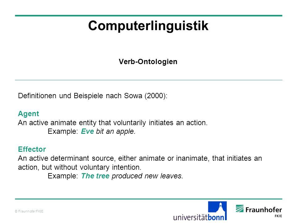 © Fraunhofer FKIE Computerlinguistik Definitionen und Beispiele nach Sowa (2000): Agent An active animate entity that voluntarily initiates an action.