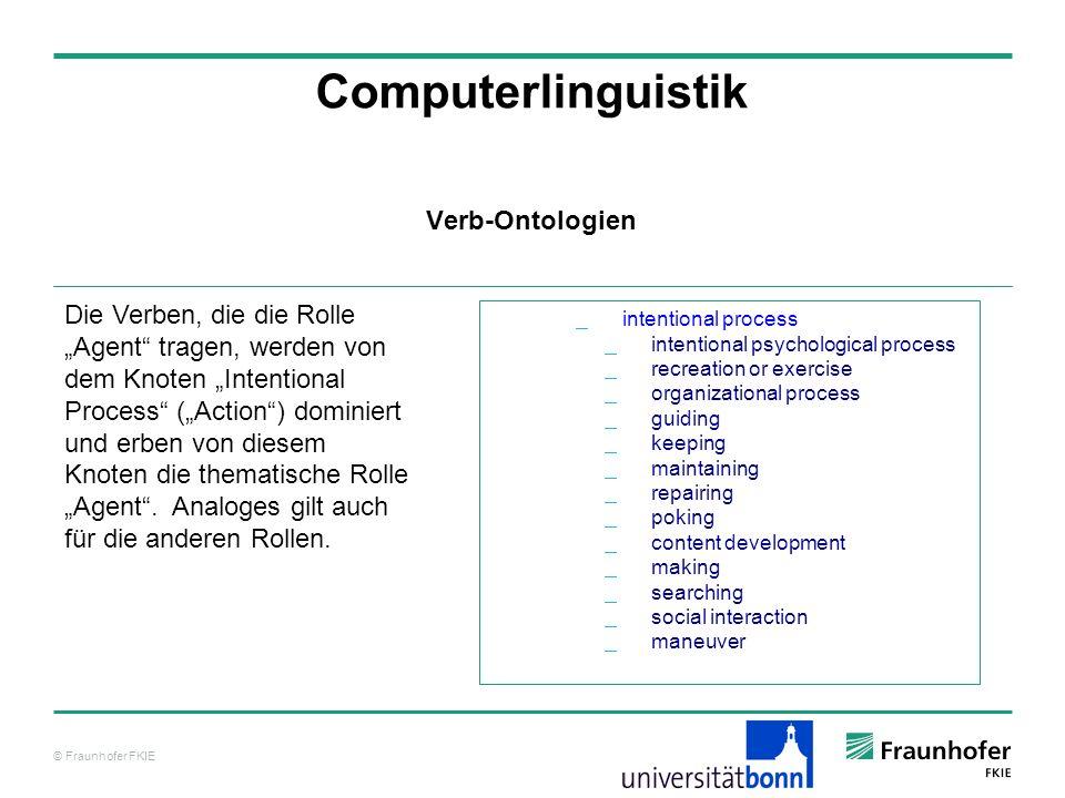 © Fraunhofer FKIE Computerlinguistik Verb-Ontologien Die Verben, die die Rolle Agent tragen, werden von dem Knoten Intentional Process (Action) domini