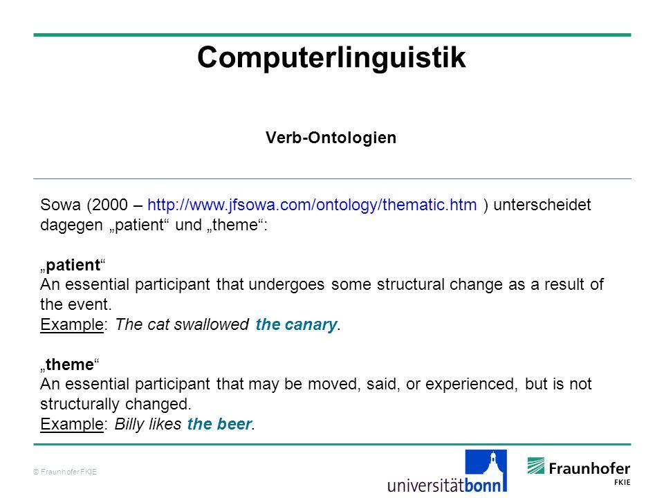 © Fraunhofer FKIE Computerlinguistik Sowa (2000 – http://www.jfsowa.com/ontology/thematic.htm ) unterscheidet dagegen patient und theme: patient An es