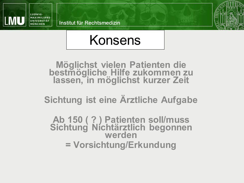 Institut für Rechtsmedizin Kriterien der SK Schwarz (abgeschlossene Hirntoddiagnostik) Totenflecke (Livores) Totenstarre (Rigor mortis) (späte Leichenerscheinungen) mit dem Leben nicht vereinbare Verletzungen