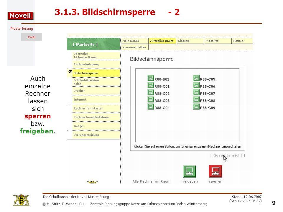 © M. Stütz, F. Wrede LEU - Zentrale Planungsgruppe Netze am Kultusministerium Baden-Württemberg Musterlösung zwei Die Schulkonsole der Novell-Musterlö