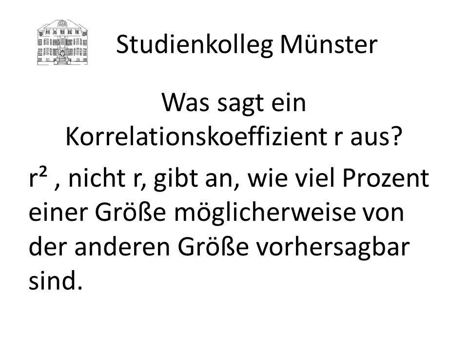 Studienkolleg Münster Beispiele Medizinertest – Physikum r = 0,48 r² = 23% SAT Test – Note erstes Jahr (gesamtes College) r = 0,52 (0,36) r² = 27% (13%) Heimatnote - FSP Note Münster r = 0,35 r² = 12 %