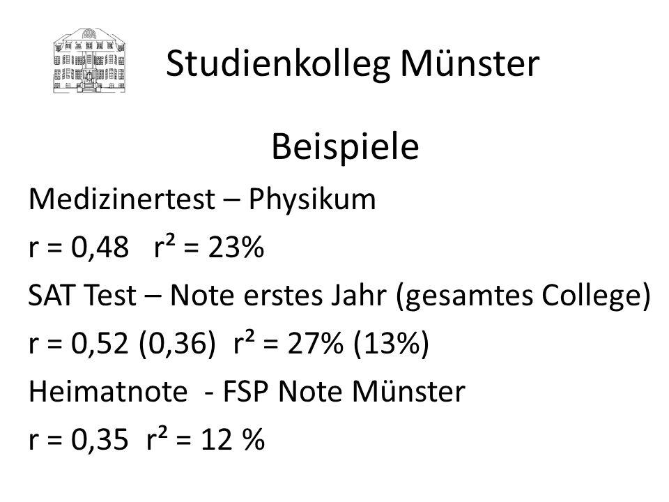Studienkolleg Münster Beispiele Medizinertest – Physikum r = 0,48 r² = 23% SAT Test – Note erstes Jahr (gesamtes College) r = 0,52 (0,36) r² = 27% (13