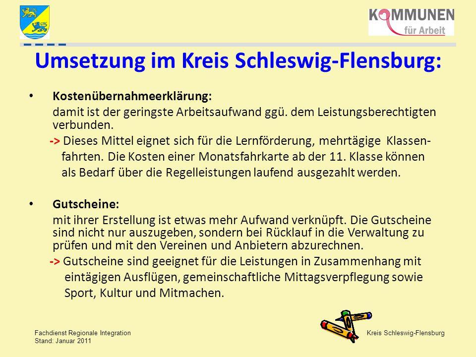 Kreis Schleswig-Flensburg Fachdienst Regionale Integration Stand: Januar 2011 Umsetzung im Kreis Schleswig-Flensburg: Kostenübernahmeerklärung: damit