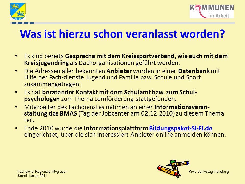 Kreis Schleswig-Flensburg Fachdienst Regionale Integration Stand: Januar 2011 Was ist hierzu schon veranlasst worden? Es sind bereits Gespräche mit de