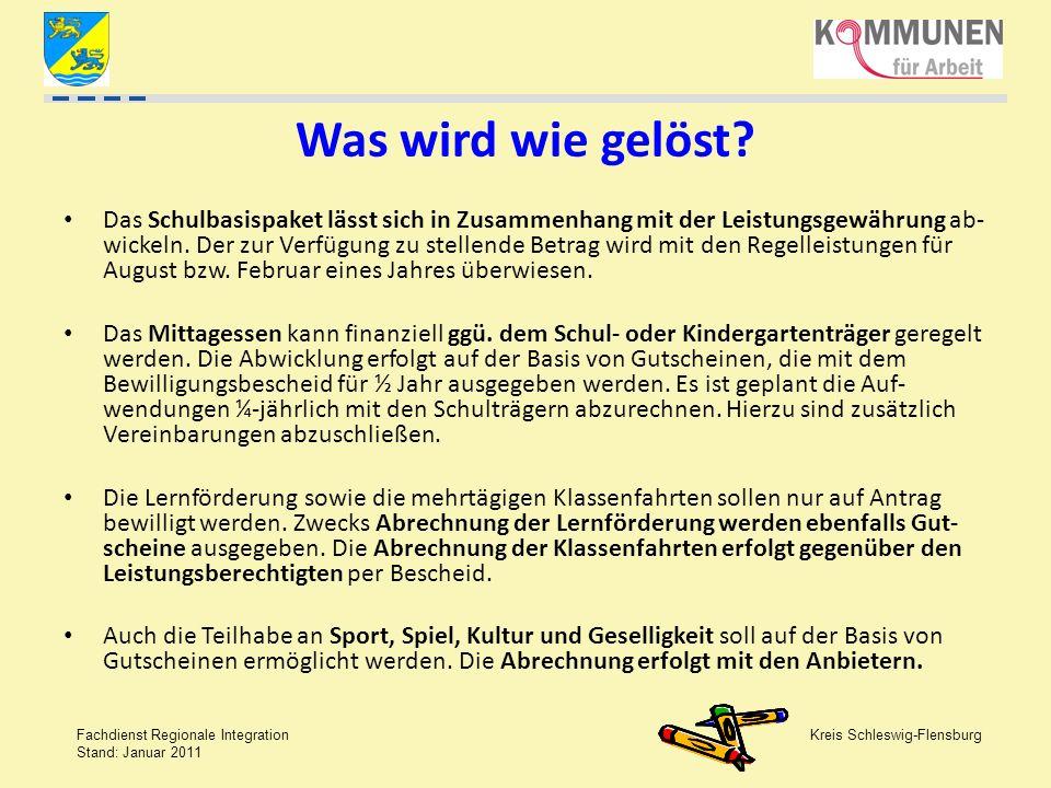Kreis Schleswig-Flensburg Fachdienst Regionale Integration Stand: Januar 2011 Was wird wie gelöst? Das Schulbasispaket lässt sich in Zusammenhang mit