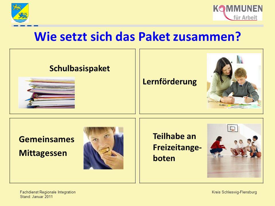 Kreis Schleswig-Flensburg Fachdienst Regionale Integration Stand: Januar 2011 Wie setzt sich das Paket zusammen? Schulbasispaket Lernförderung Teilhab
