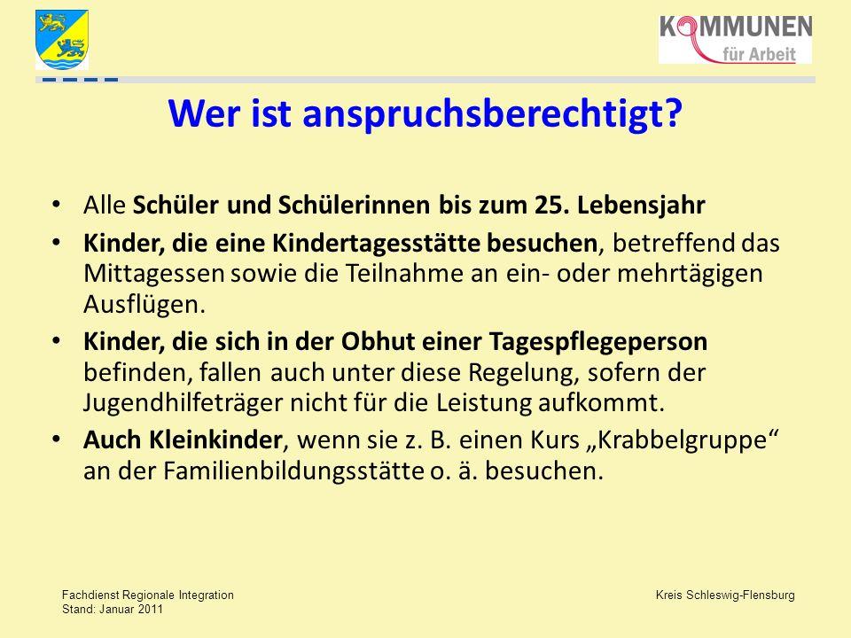Kreis Schleswig-Flensburg Fachdienst Regionale Integration Stand: Januar 2011 Wer ist anspruchsberechtigt? Alle Schüler und Schülerinnen bis zum 25. L