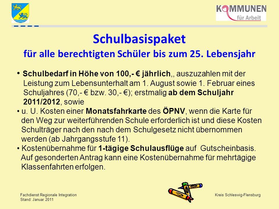Kreis Schleswig-Flensburg Fachdienst Regionale Integration Stand: Januar 2011 Schul- und Kita-Ausflüge Gilt für alle eintägigen Ausflüge im Halbjahr, es können also auch mehrere Ausflüge abgerechnet werden.