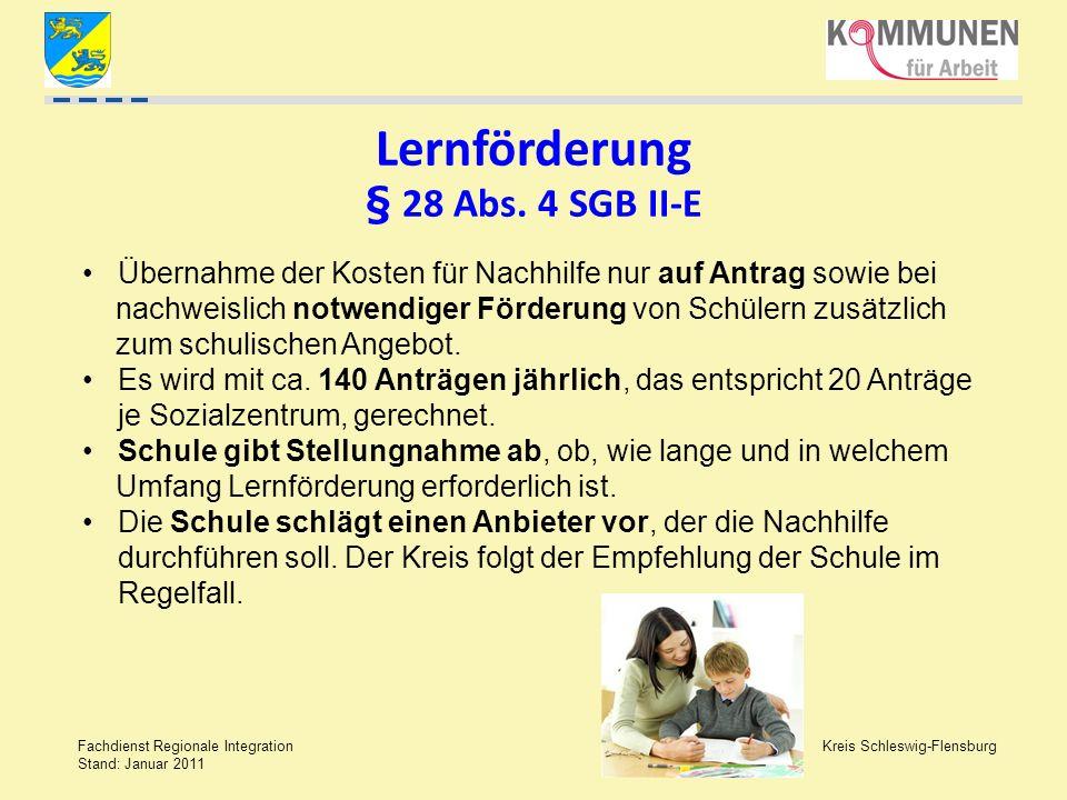 Kreis Schleswig-Flensburg Fachdienst Regionale Integration Stand: Januar 2011 Lernförderung § 28 Abs. 4 SGB II-E Übernahme der Kosten für Nachhilfe nu