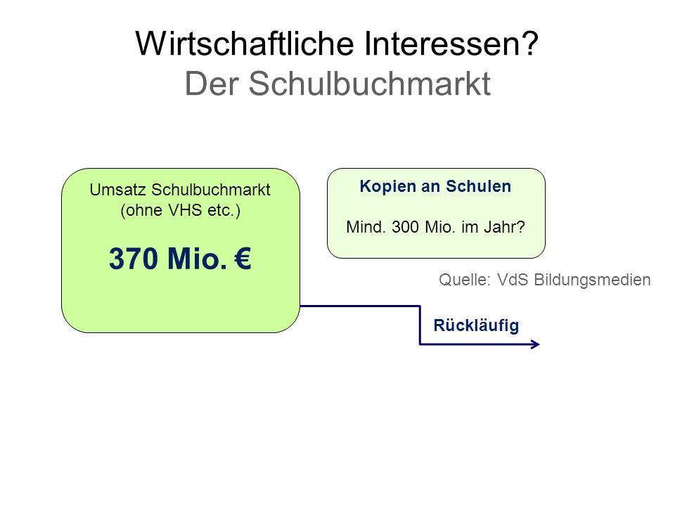 Wirtschaftliche Interessen? Der Schulbuchmarkt Umsatz Schulbuchmarkt (ohne VHS etc.) 370 Mio. Rückläufig Kopien an Schulen Mind. 300 Mio. im Jahr? Que