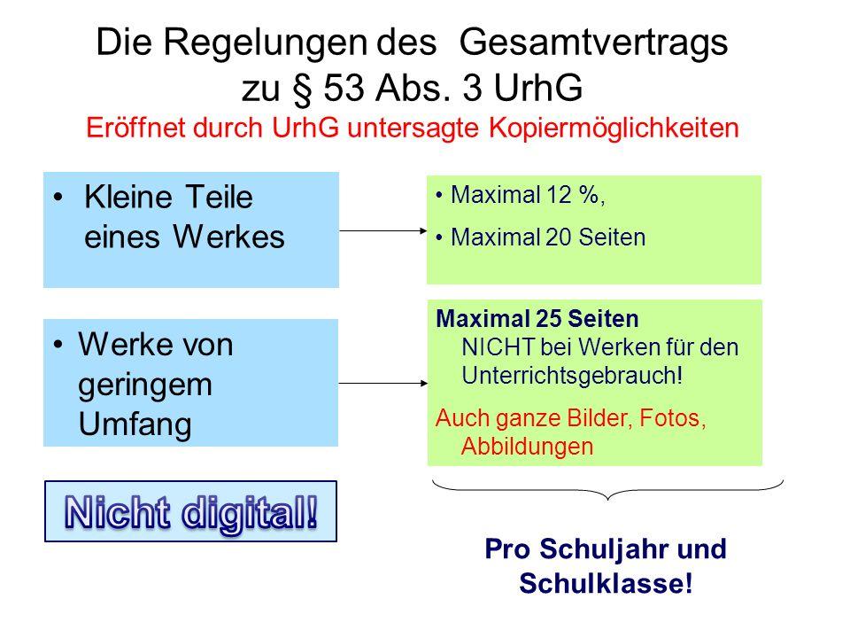 Die Regelungen des Gesamtvertrags zu § 53 Abs. 3 UrhG Eröffnet durch UrhG untersagte Kopiermöglichkeiten Kleine Teile eines Werkes Werke von geringem