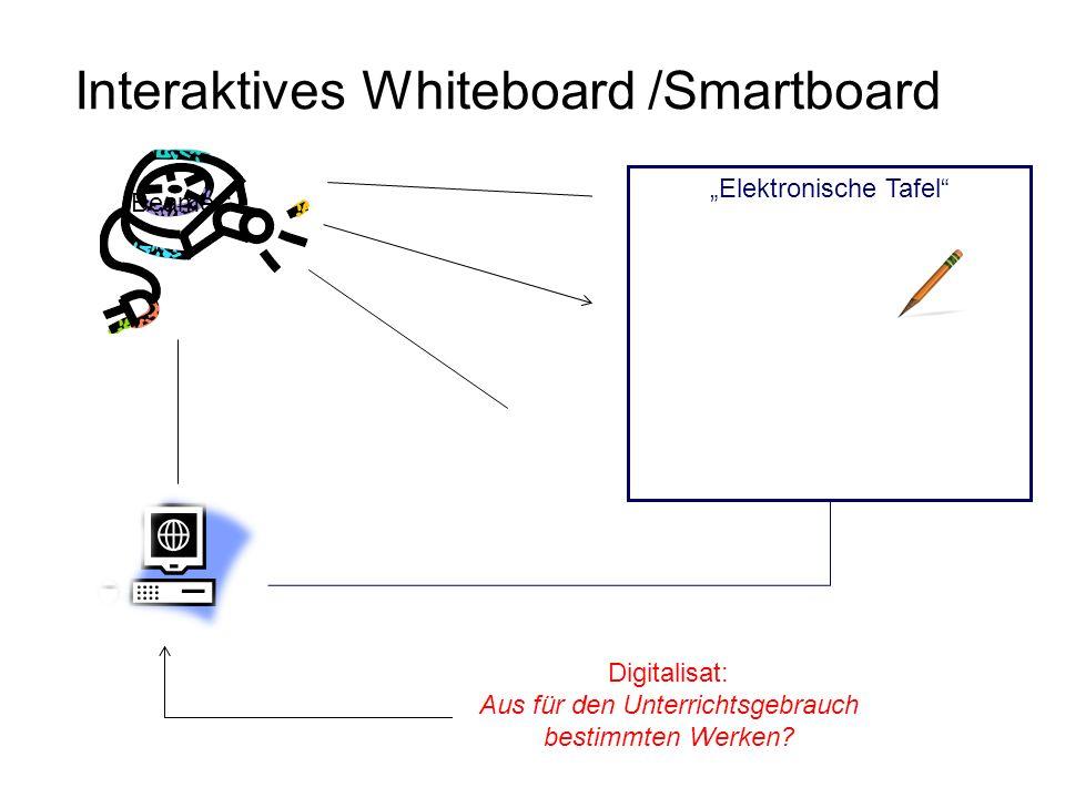 Interaktives Whiteboard /Smartboard Elektronische Tafel Beamer Digitalisat: Aus für den Unterrichtsgebrauch bestimmten Werken?