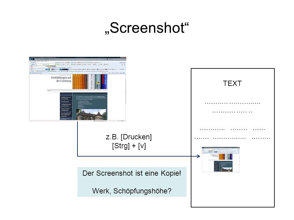 Screenshot Der Screenshot ist eine Kopie! Werk, Schöpfungshöhe? TEXT..................................................................................