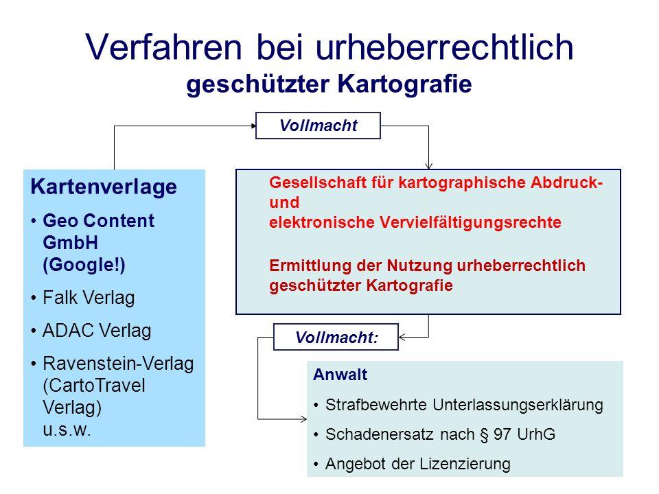Verfahren bei urheberrechtlich geschützter Kartografie Gesellschaft für kartographische Abdruck- und elektronische Vervielfältigungsrechte Ermittlung