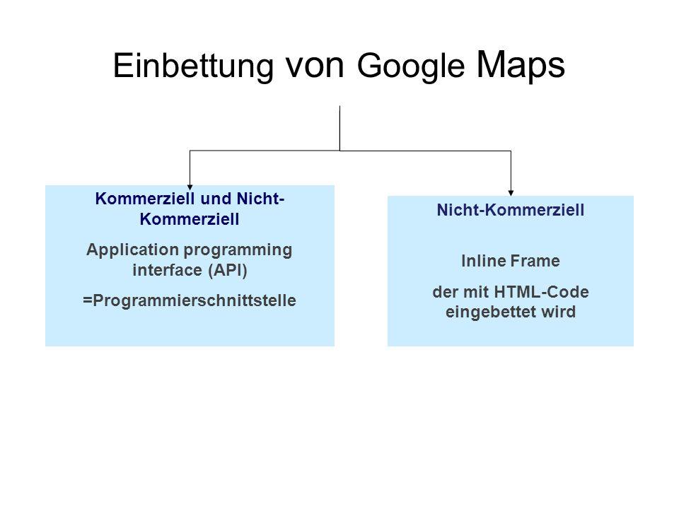 Einbettung von Google Maps Kommerziell und Nicht- Kommerziell Application programming interface (API) =Programmierschnittstelle Nicht-Kommerziell Inli