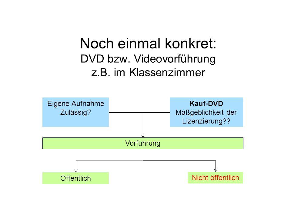 Noch einmal konkret: DVD bzw. Videovorführung z.B. im Klassenzimmer Eigene Aufnahme Zulässig? Kauf-DVD Maßgeblichkeit der Lizenzierung?? Vorführung Öf