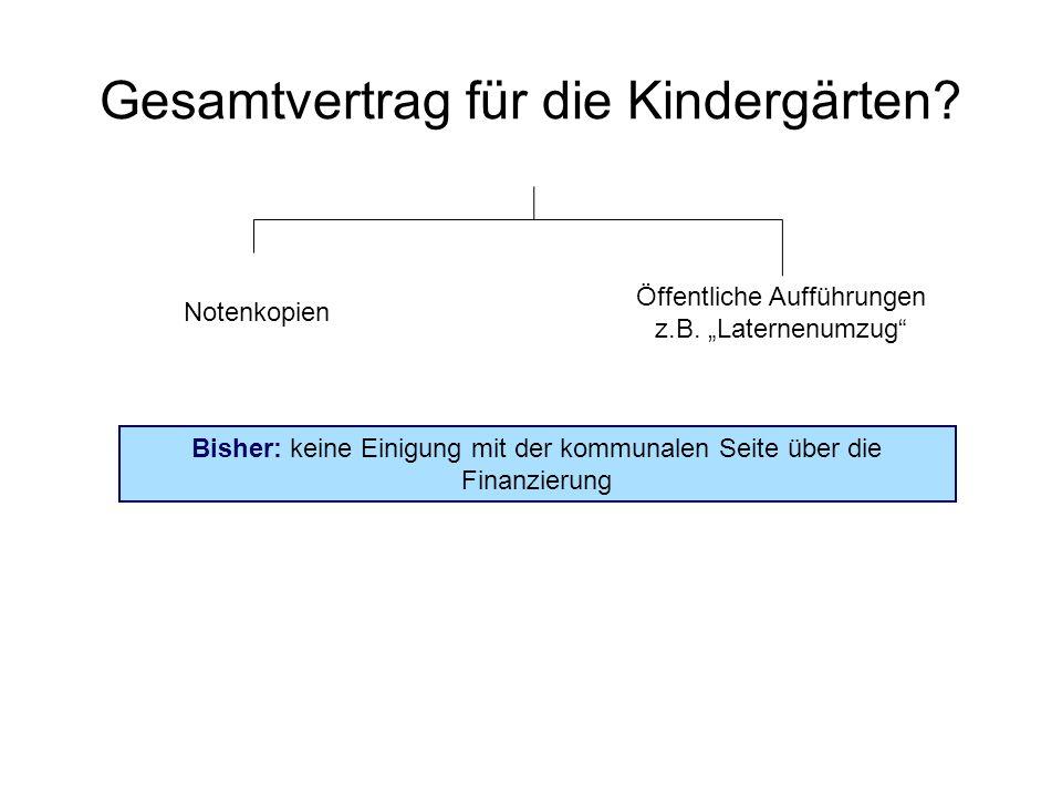 Gesamtvertrag für die Kindergärten? Notenkopien Öffentliche Aufführungen z.B. Laternenumzug Bisher: keine Einigung mit der kommunalen Seite über die F