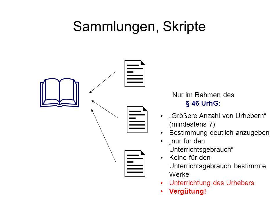 Sammlungen, Skripte Nur im Rahmen des § 46 UrhG: Größere Anzahl von Urhebern (mindestens 7) Bestimmung deutlich anzugeben nur für den Unterrichtsgebra