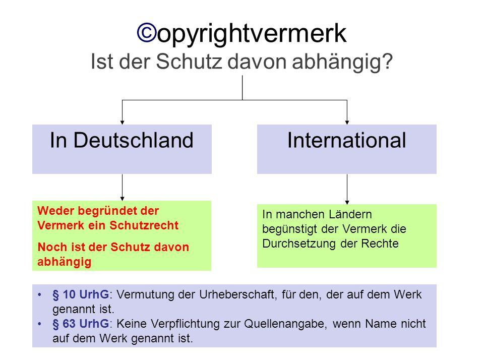 ©opyrightvermerk Ist der Schutz davon abhängig? In DeutschlandInternational Weder begründet der Vermerk ein Schutzrecht Noch ist der Schutz davon abhä