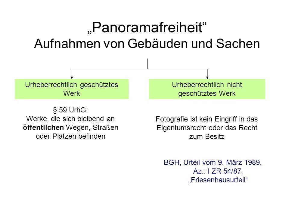 Panoramafreiheit Aufnahmen von Gebäuden und Sachen BGH, Urteil vom 9. März 1989, Az.: I ZR 54/87, Friesenhausurteil § 59 UrhG: Werke, die sich bleiben