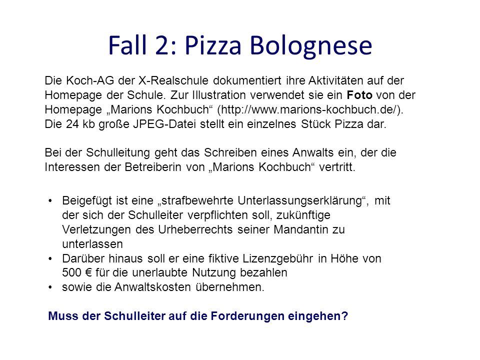 Fall 2: Pizza Bolognese Die Koch-AG der X-Realschule dokumentiert ihre Aktivitäten auf der Homepage der Schule. Zur Illustration verwendet sie ein Fot