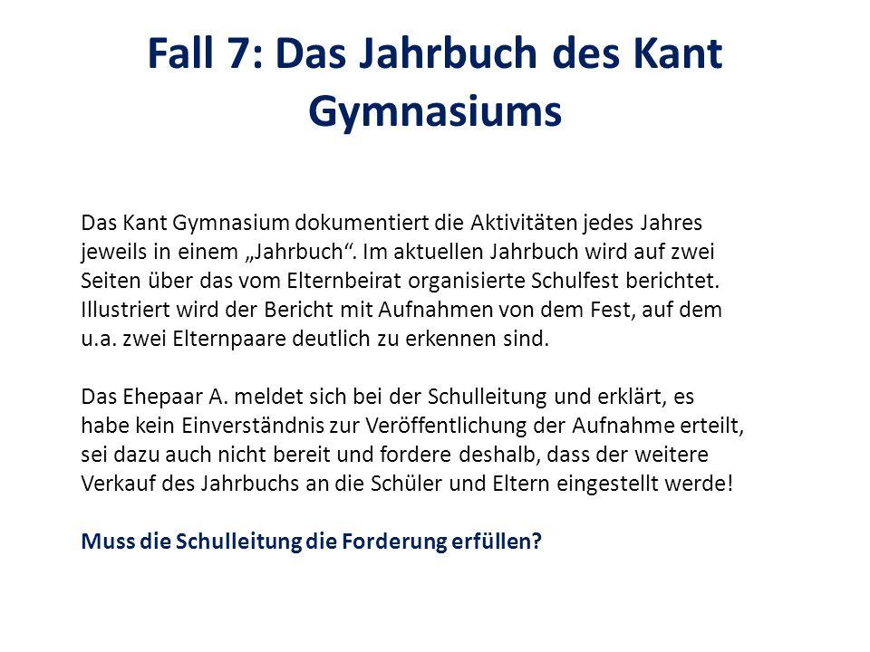 Fall 7: Das Jahrbuch des Kant Gymnasiums Das Kant Gymnasium dokumentiert die Aktivitäten jedes Jahres jeweils in einem Jahrbuch. Im aktuellen Jahrbuch