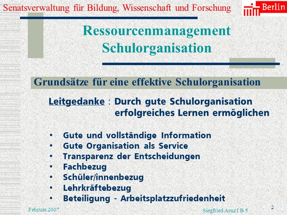 Senatsverwaltung für Bildung, Wissenschaft und Forschung 1 Februar 2007 Siegfried Arnz I B 5 Ressourcenmanagement Schulorganisation Gliederung Grundsä