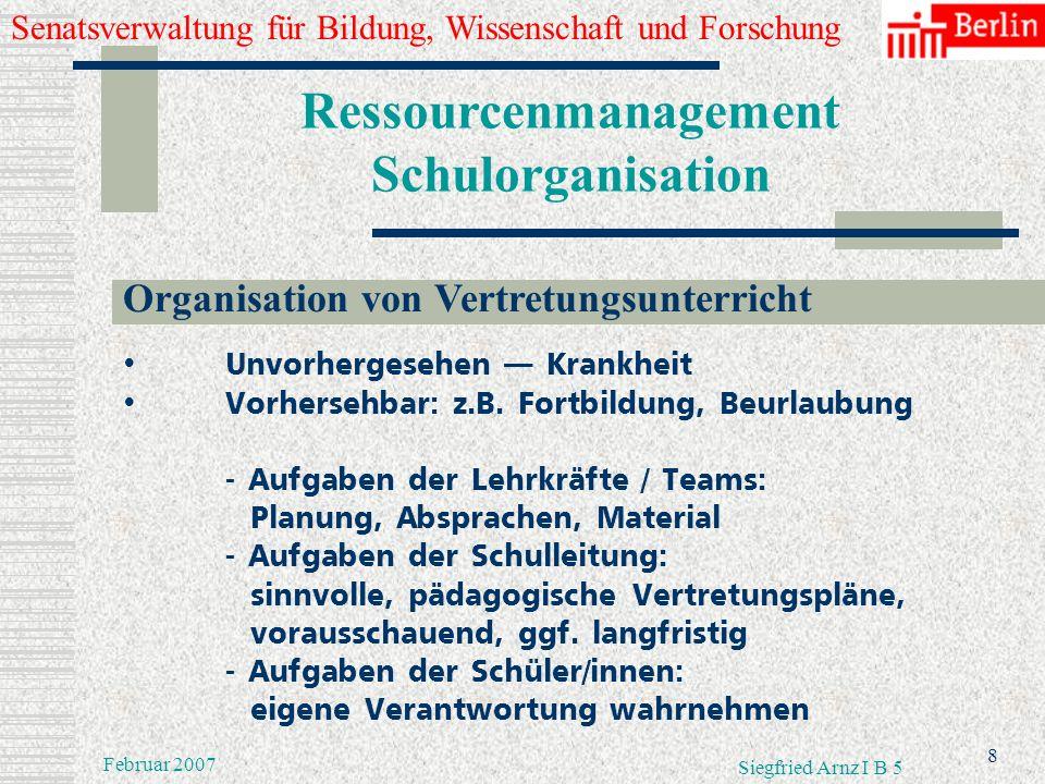 Senatsverwaltung für Bildung, Wissenschaft und Forschung 7 Februar 2007 Siegfried Arnz I B 5 Ressourcenmanagement Schulorganisation Organisation von V