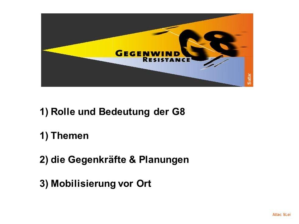 1)Rolle und Bedeutung der G8 1)Themen 2)die Gegenkräfte & Planungen 3)Mobilisierung vor Ort Attac SLei
