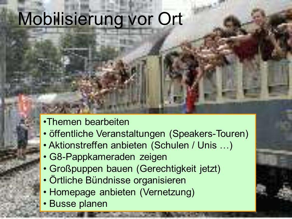 Mobilisierung vor Ort Themen bearbeiten öffentliche Veranstaltungen (Speakers-Touren) Aktionstreffen anbieten (Schulen / Unis …) G8-Pappkameraden zeig