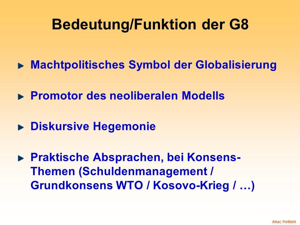 Bedeutung/Funktion der G8 Machtpolitisches Symbol der Globalisierung Promotor des neoliberalen Modells Diskursive Hegemonie Praktische Absprachen, bei