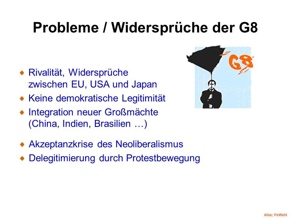 Probleme / Widersprüche der G8 Rivalität, Widersprüche zwischen EU, USA und Japan Keine demokratische Legitimität Integration neuer Großmächte (China,