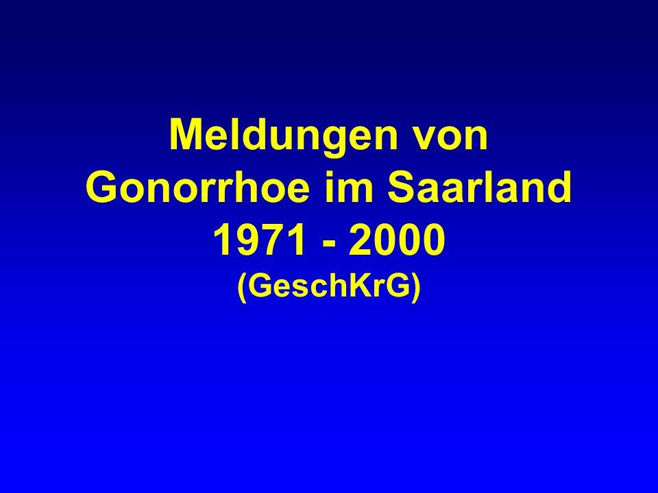 Meldungen von Gonorrhoe im Saarland 1971 - 2000 (GeschKrG)