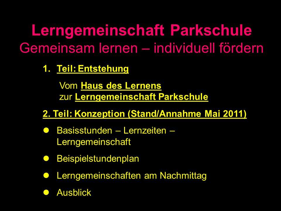Lerngemeinschaft Parkschule Gemeinsam lernen – individuell fördern 1.Teil: Entstehung Vom Haus des Lernens zur Lerngemeinschaft Parkschule 2. Teil: Ko